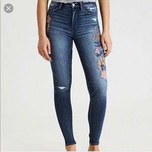 AEO | Embroidered Super High Rise Jegging